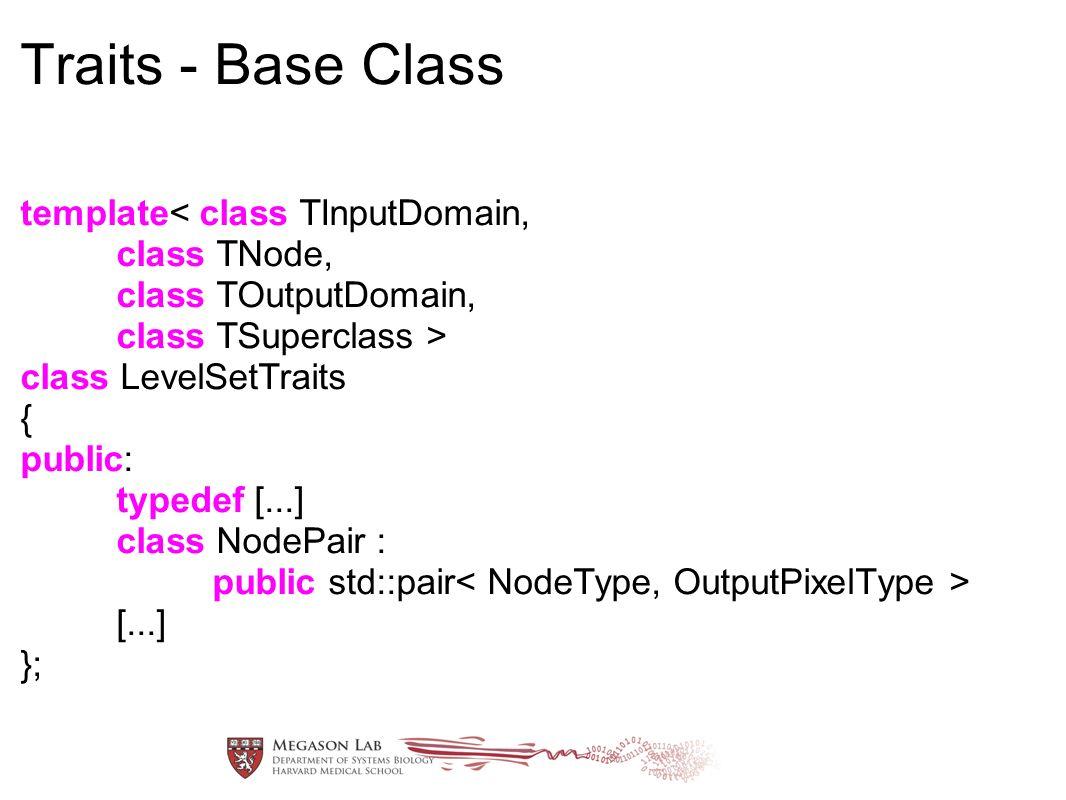 Traits - Base Class template< class TInputDomain, class TNode, class TOutputDomain, class TSuperclass > class LevelSetTraits { public: typedef [...] class NodePair : public std::pair [...] };