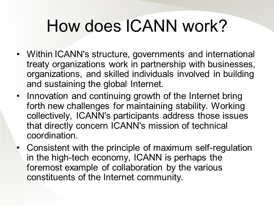 How does ICANN work.