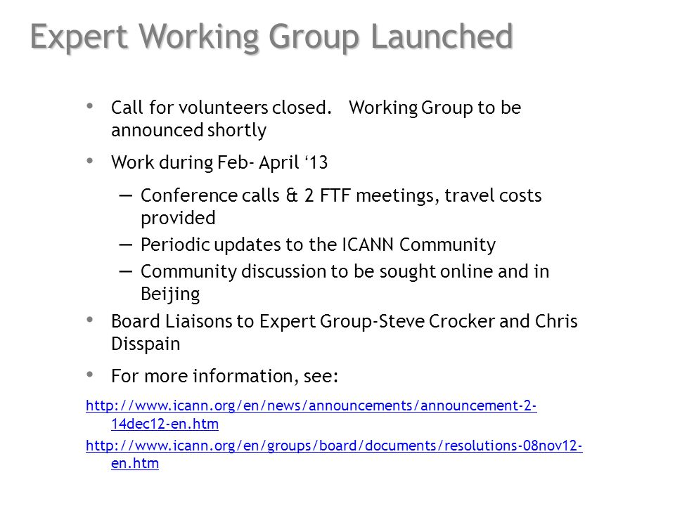 Expert Working Group Launched Call for volunteers closed.