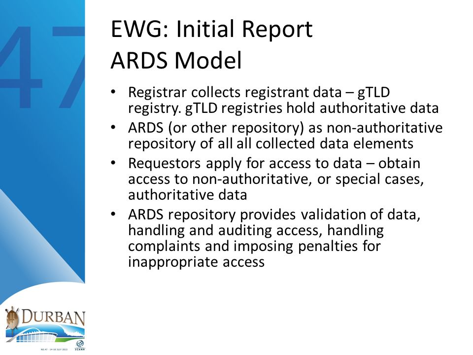 EWG: Initial Report ARDS Model Registrar collects registrant data – gTLD registry.