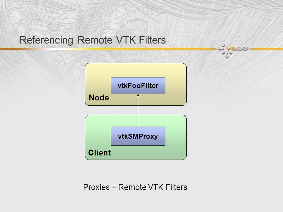 Referencing Remote VTK Filters vtkFooFilter Node Client vtkSMProxy Proxies = Remote VTK Filters