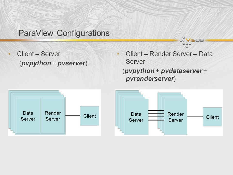 Conclusion Python is the main scripting language for ParaView Python can be used to write pure client side code as well as for server side data processing (using programmable filter) paraview.servermanager module provides components used for client-side programming.