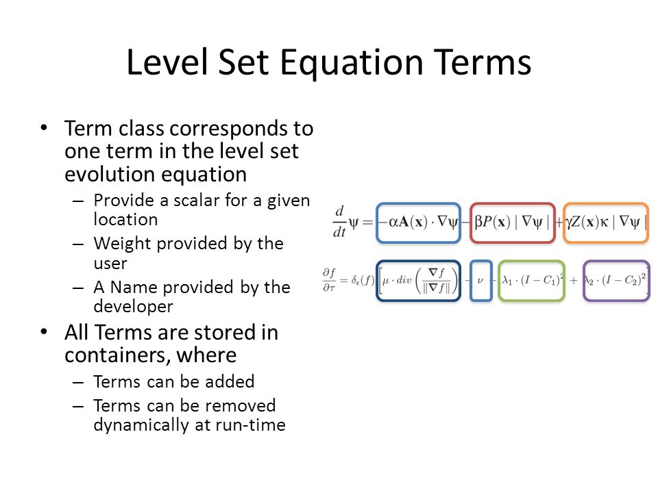 Level Set Equation Terms Term class corresponds to one term in the level set evolution equation – Provide a scalar for a given location – Weight provided by the user – A Name provided by the developer All Terms are stored in containers, where – Terms can be added – Terms can be removed dynamically at run-time
