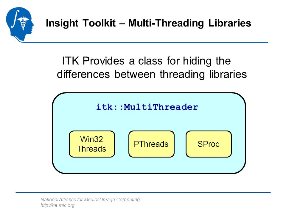 National Alliance for Medical Image Computing http://na-mic.org ITK Provides a class for hiding the differences between threading libraries Insight Toolkit – Multi-Threading Libraries itk::MultiThreader Win32 Threads PThreadsSProc