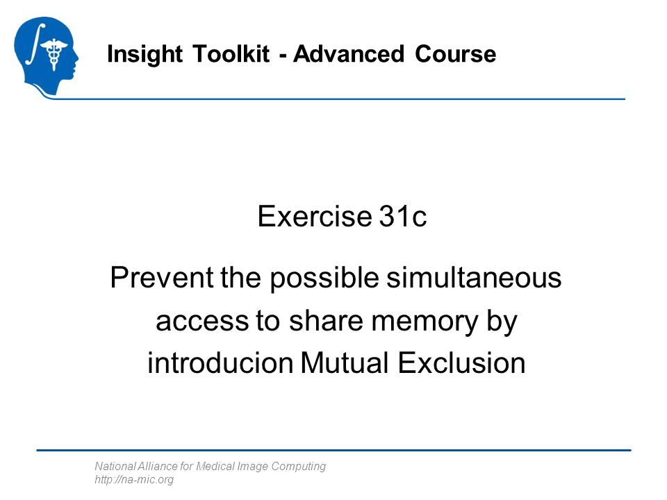 National Alliance for Medical Image Computing http://na-mic.org Exercise 31c Insight Toolkit - Advanced Course Prevent the possible simultaneous access to share memory by introducion Mutual Exclusion