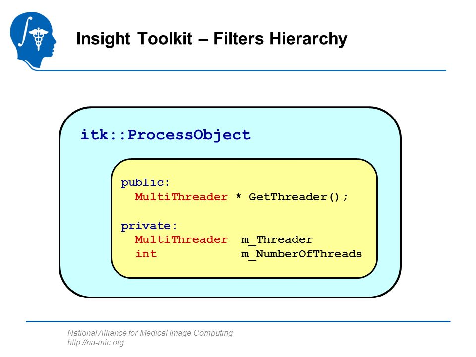 National Alliance for Medical Image Computing http://na-mic.org Insight Toolkit – Filters Hierarchy itk::ProcessObject public: MultiThreader * GetThreader(); private: MultiThreader m_Threader int m_NumberOfThreads