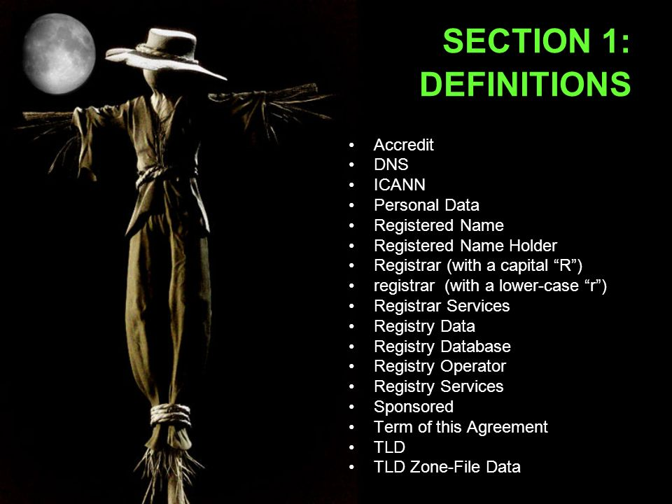 SECTION 1: DEFINITIONS Accredit DNS ICANN Personal Data Registered Name Registered Name Holder Registrar (with a capital R) registrar (with a lower-case r) Registrar Services Registry Data Registry Database Registry Operator Registry Services Sponsored Term of this Agreement TLD TLD Zone-File Data