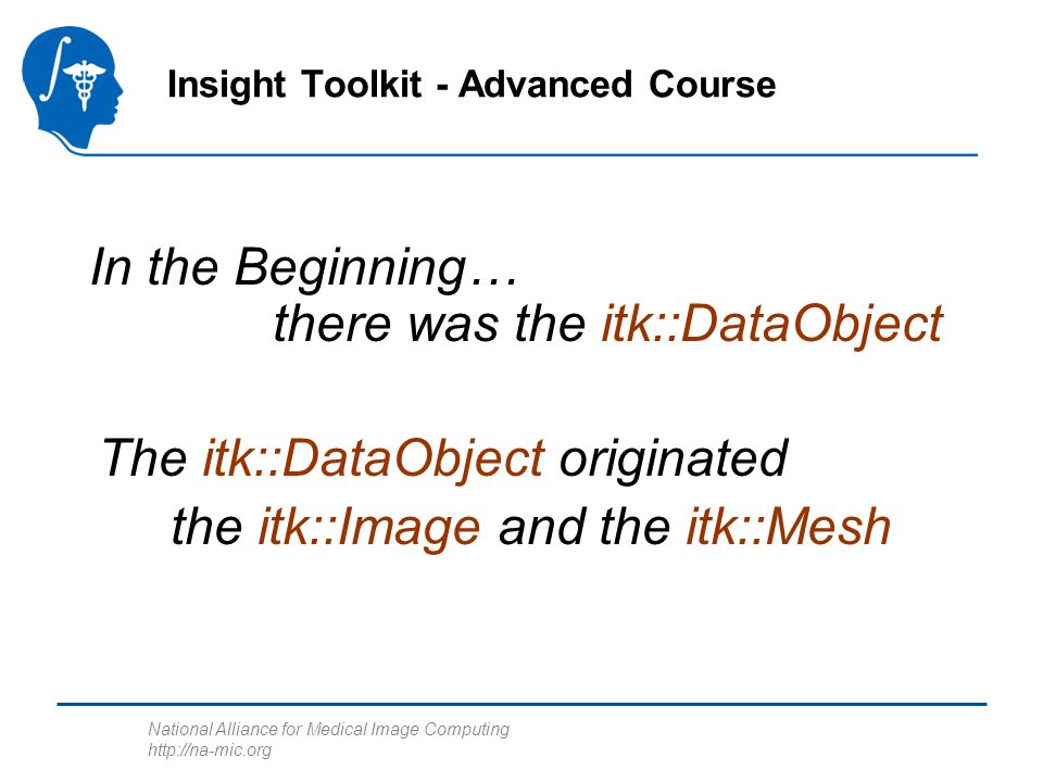 National Alliance for Medical Image Computing http://na-mic.org In the Beginning… there was the itk::DataObject Insight Toolkit - Advanced Course The itk::DataObject originated the itk::Image and the itk::Mesh