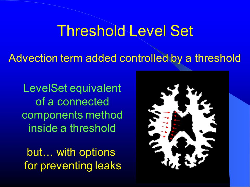 Threshold Level Set Advection term added controlled by a threshold LevelSet equivalent of a connected components method inside a threshold but… with o