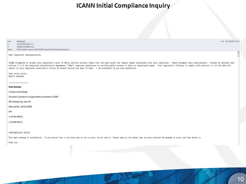 10 ICANN Initial Compliance Inquiry