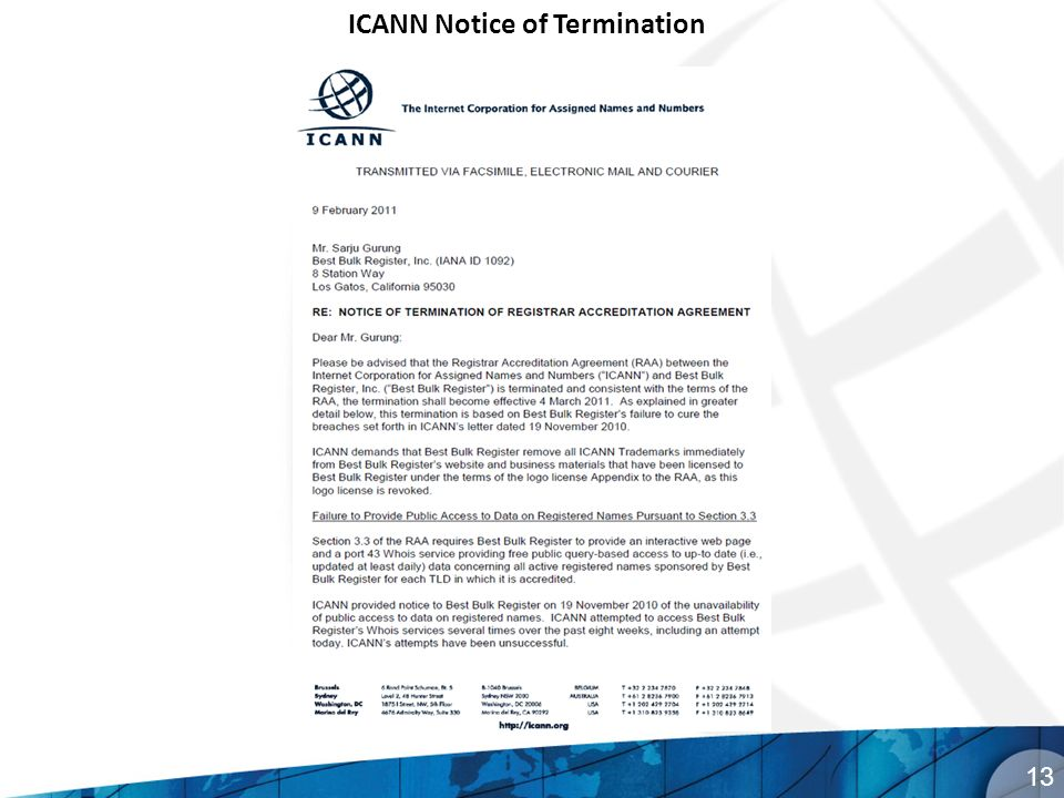 13 ICANN Notice of Termination