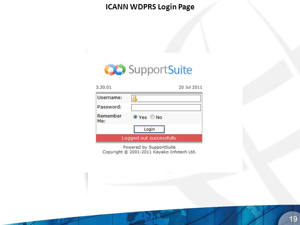 ICANN WDPRS Login Page 19