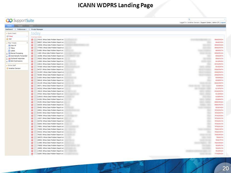 ICANN WDPRS Landing Page 20