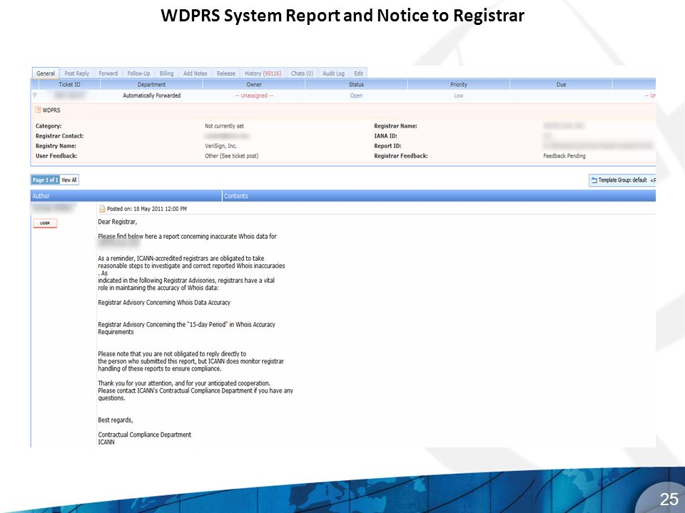 WDPRS System Report and Notice to Registrar 25