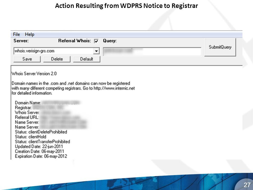 Action Resulting from WDPRS Notice to Registrar 27
