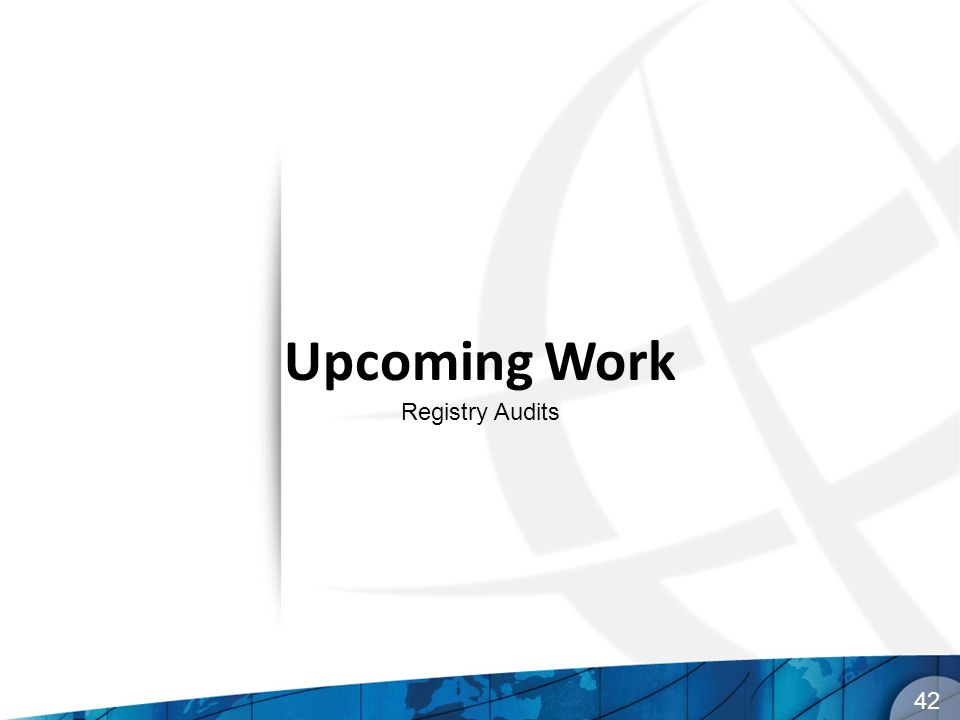 42 Upcoming Work Registry Audits