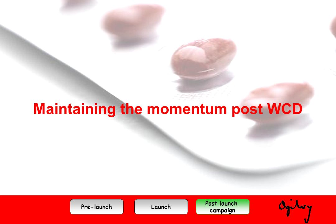Maintaining the momentum post WCD Pre-launchLaunch Post launch campaign