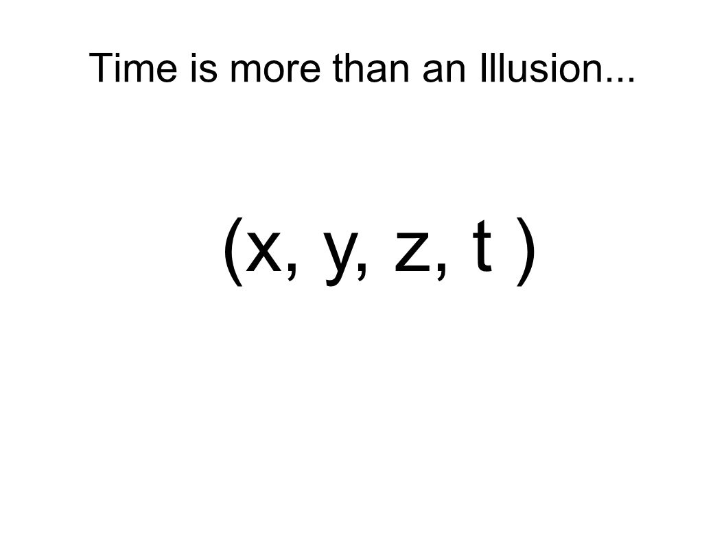 Time is more than an Illusion... (x, y, z, t )