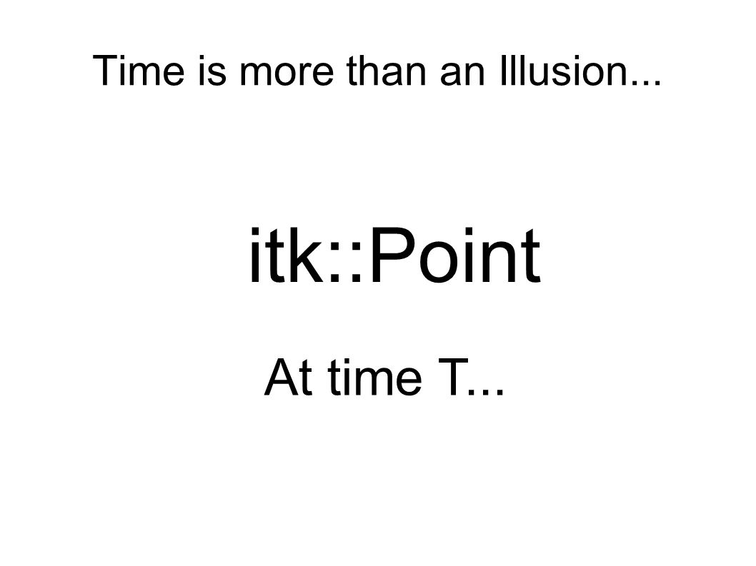 Time is more than an Illusion... itk::Point At time T...