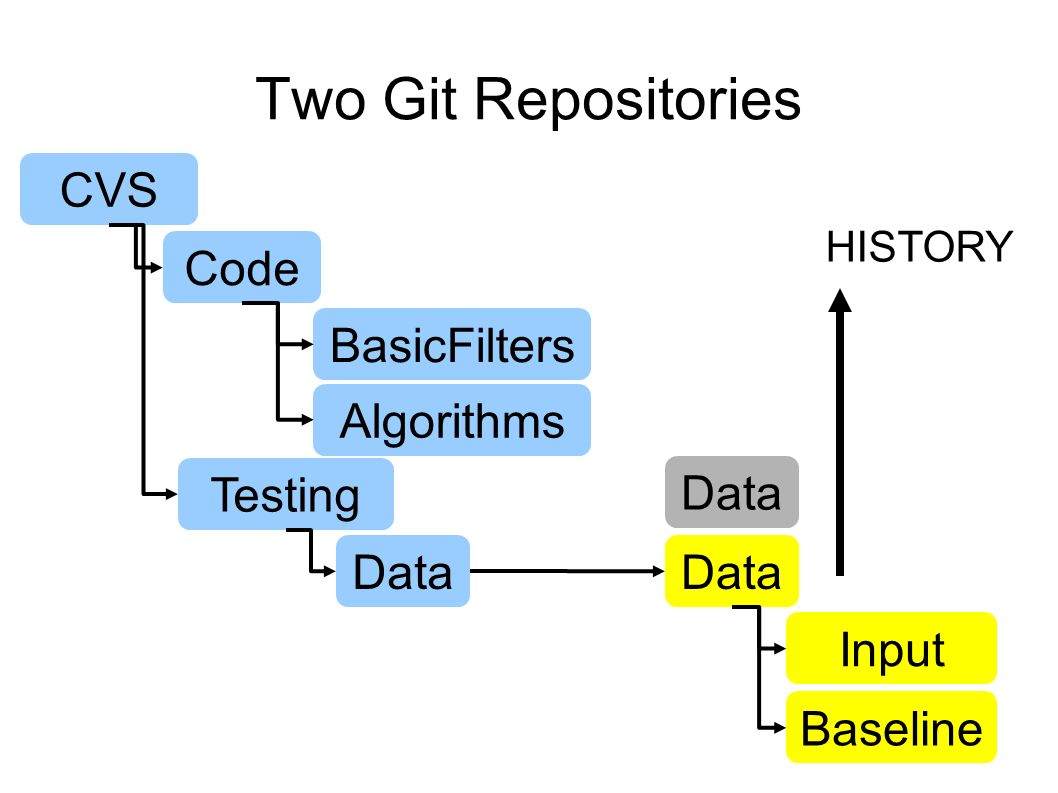 Two Git Repositories CVS Code BasicFilters Algorithms Testing Data Input Baseline HISTORY Data