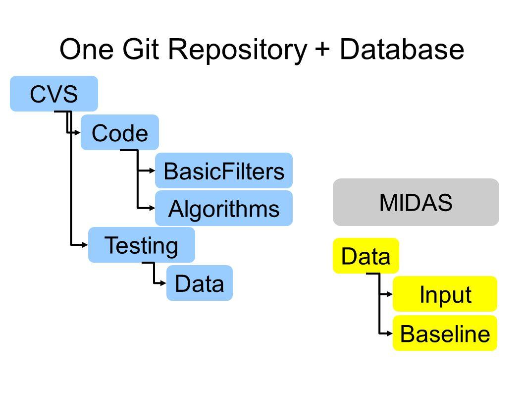 One Git Repository + Database CVS Code BasicFilters Algorithms Testing Data Input Baseline MIDAS