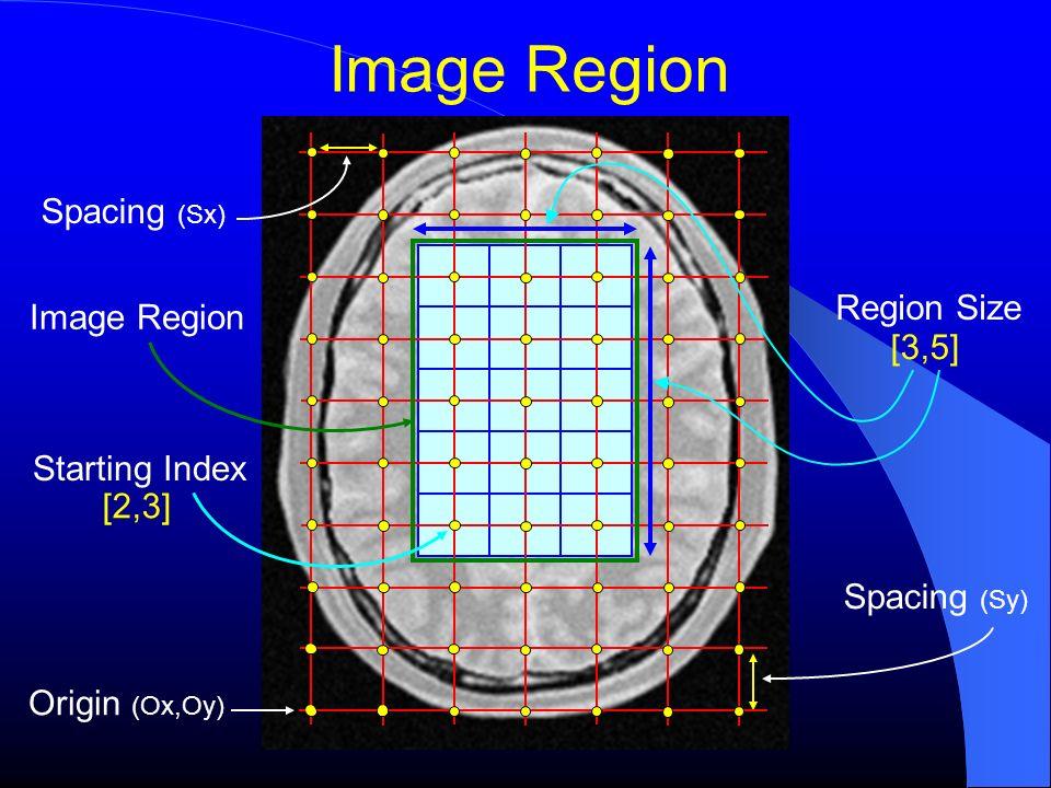 Origin (Ox,Oy) Spacing (Sy) Spacing (Sx) Image Region Starting Index Region Size [2,3] [3,5]