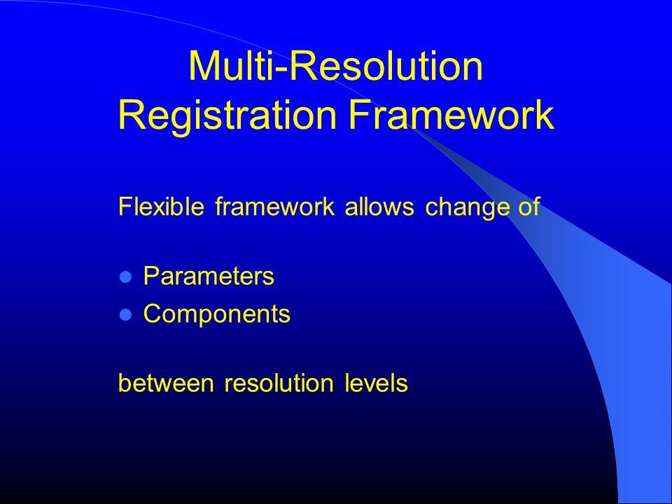 Multi-Resolution Registration Framework Flexible framework allows change of Parameters Components between resolution levels