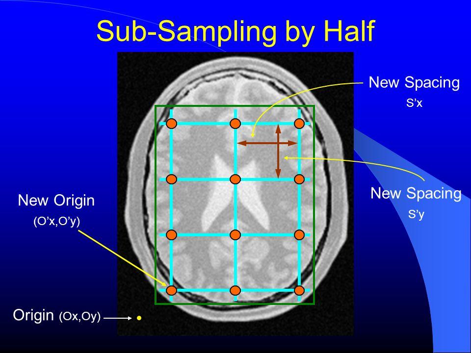 Sub-Sampling by Half Origin (Ox,Oy) New Origin (Ox,Oy) New Spacing Sy New Spacing Sx
