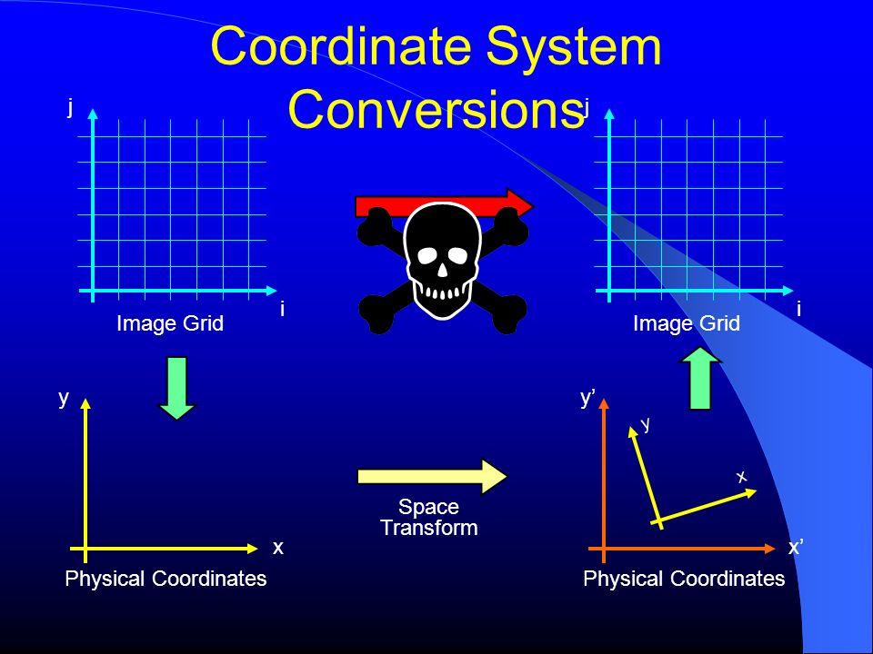 Coordinate System Conversions Image Grid j i y x Physical Coordinates y x Image Grid j i Space Transform x y