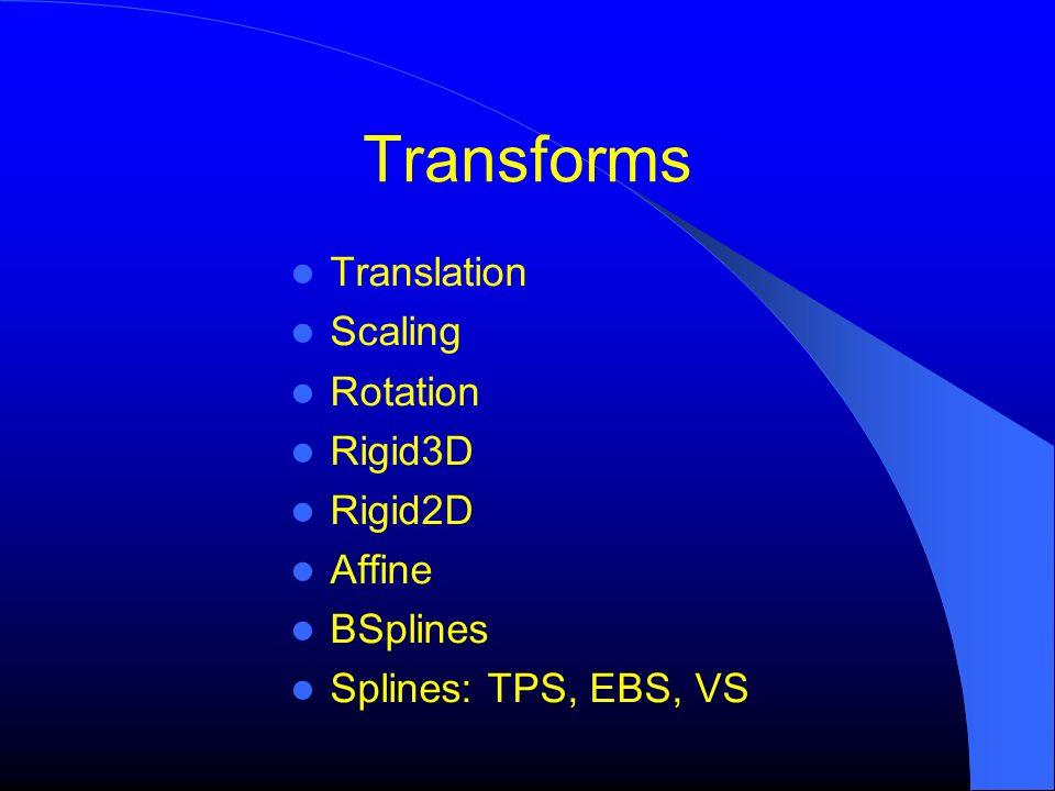 Transforms Translation Scaling Rotation Rigid3D Rigid2D Affine BSplines Splines: TPS, EBS, VS