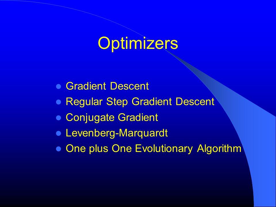 Optimizers Gradient Descent Regular Step Gradient Descent Conjugate Gradient Levenberg-Marquardt One plus One Evolutionary Algorithm