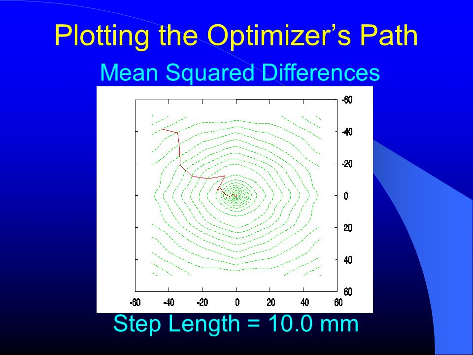 Plotting the Optimizers Path Mean Squared Differences Step Length = 10.0 mm
