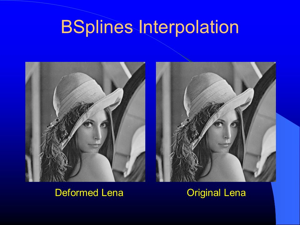 BSplines Interpolation Original LenaDeformed Lena