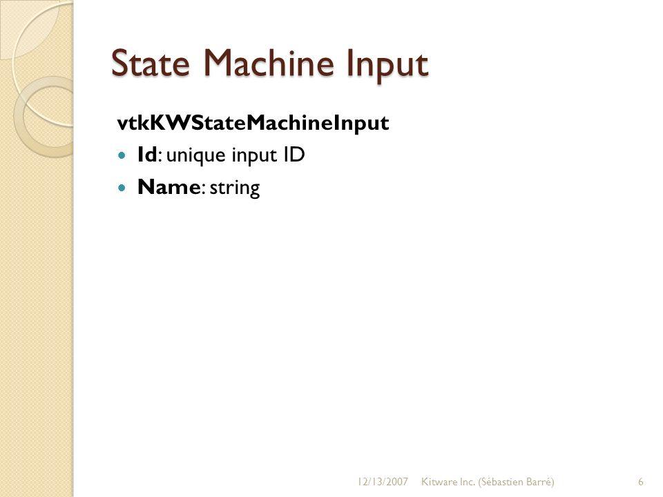 State Machine Input vtkKWStateMachineInput Id: unique input ID Name: string 12/13/20076Kitware Inc. (Sébastien Barré)