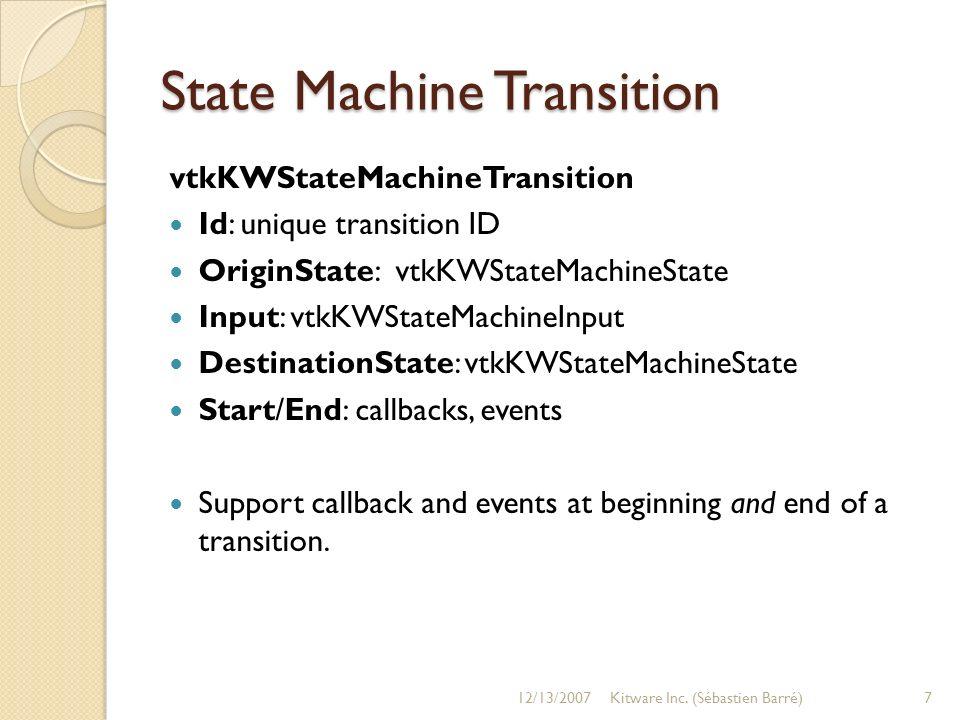 State Machine Transition vtkKWStateMachineTransition Id: unique transition ID OriginState: vtkKWStateMachineState Input: vtkKWStateMachineInput Destin