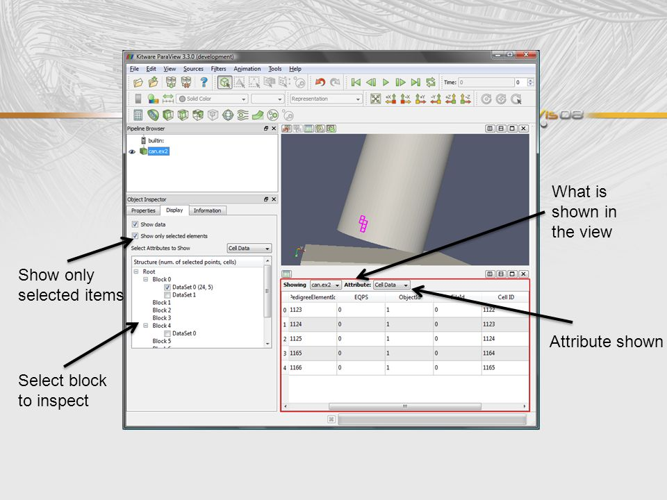 What is shown in the view Show only selected items Select block to inspect Attribute shown