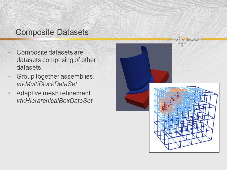 Composite Datasets Composite datasets are datasets comprising of other datasets. Group together assemblies: vtkMultiBlockDataSet Adaptive mesh refinem