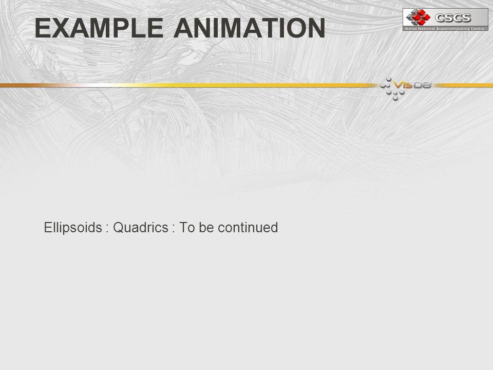 Ellipsoids : Quadrics : To be continued EXAMPLE ANIMATION