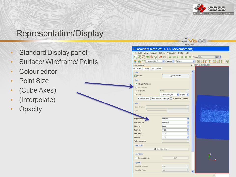 Representation/Display Standard Display panel Surface/ Wireframe/ Points Colour editor Point Size (Cube Axes) (Interpolate) Opacity