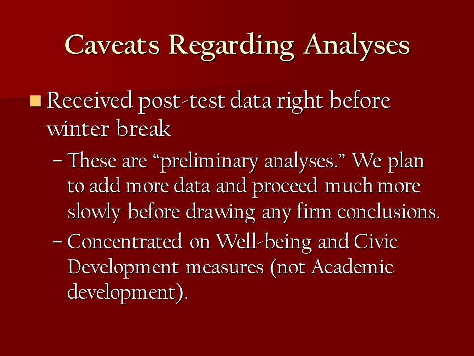 Caveats Regarding Analyses Received post-test data right before winter break Received post-test data right before winter break –These are preliminary