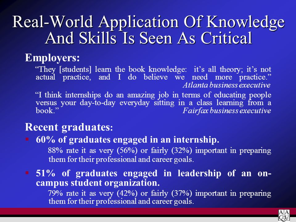 Real-World Application Of Knowledge And Skills Is Seen As Critical Employers: They [students] learn the book knowledge: its all theory; its not actual
