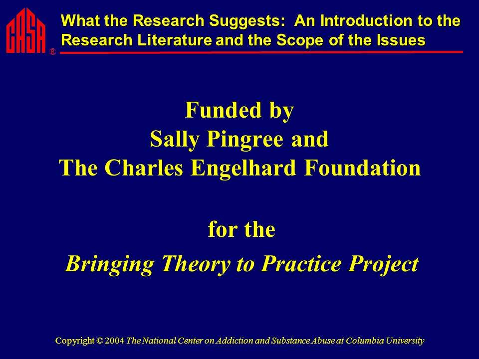 ® What the Research Suggests: An Introduction to the Research Literature and the Scope of the Issues Copyright © 2004 The National Center on Addiction and Substance Abuse at Columbia University Funded by Sally Pingree and The Charles Engelhard Foundation for the Bringing Theory to Practice Project