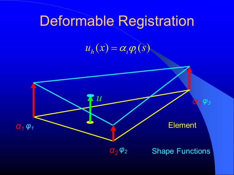 Deformable Registration φ3φ3 Element φ1φ1 φ2φ2 u α2α2 α3α3 Shape Functions α1α1