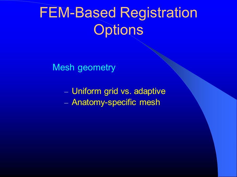 FEM-Based Registration Options Mesh geometry – Uniform grid vs. adaptive – Anatomy-specific mesh