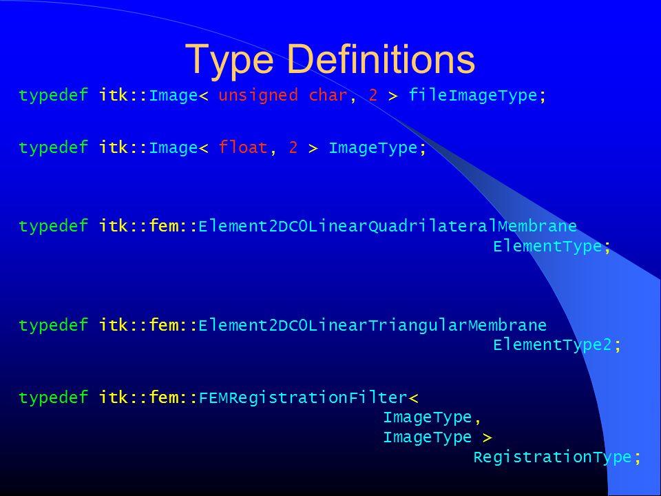 Type Definitions typedef itk::Image fileImageType; typedef itk::Image ImageType; typedef itk::fem::Element2DC0LinearQuadrilateralMembrane ElementType;