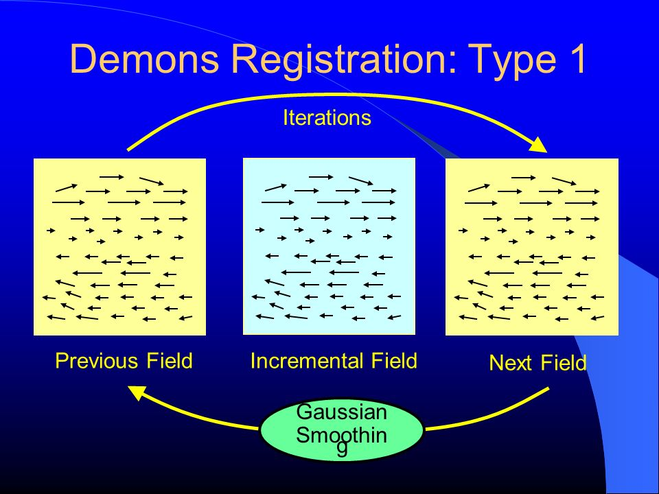 Demons Registration: Type 1 Previous Field Incremental Field Next Field Iterations Gaussian Smoothin g