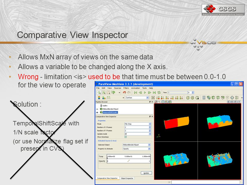 Comparative View Inspector Allows MxN array of views on the same data Allows a variable to be changed along the X axis.