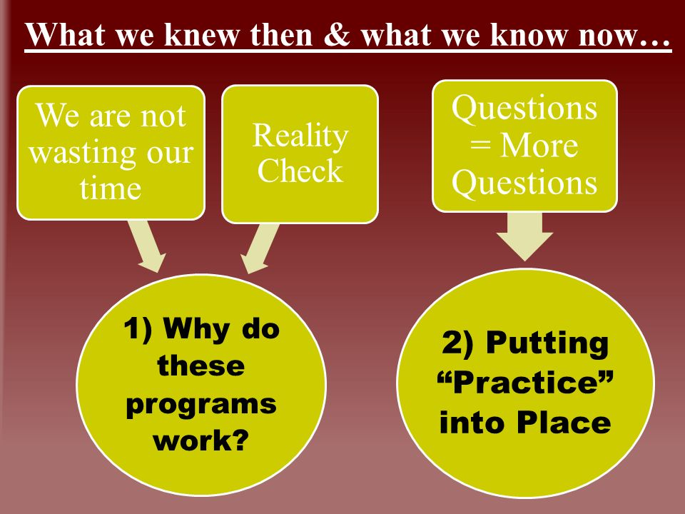 What we knew then & what we know now… 1) Why do these programs work.
