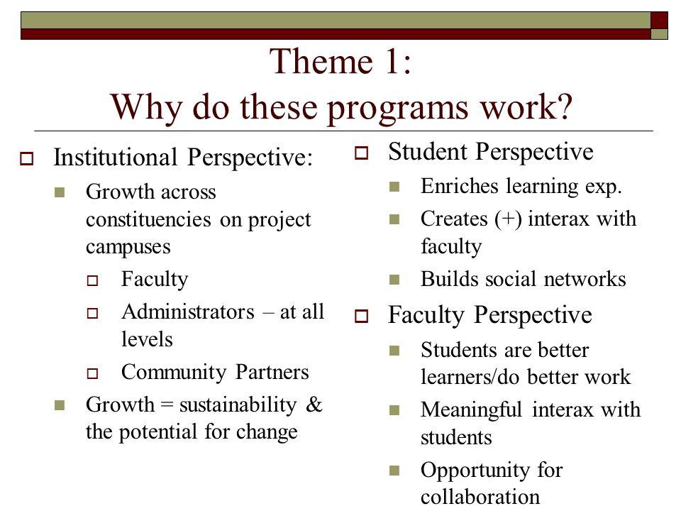 Theme 1: Why do these programs work.