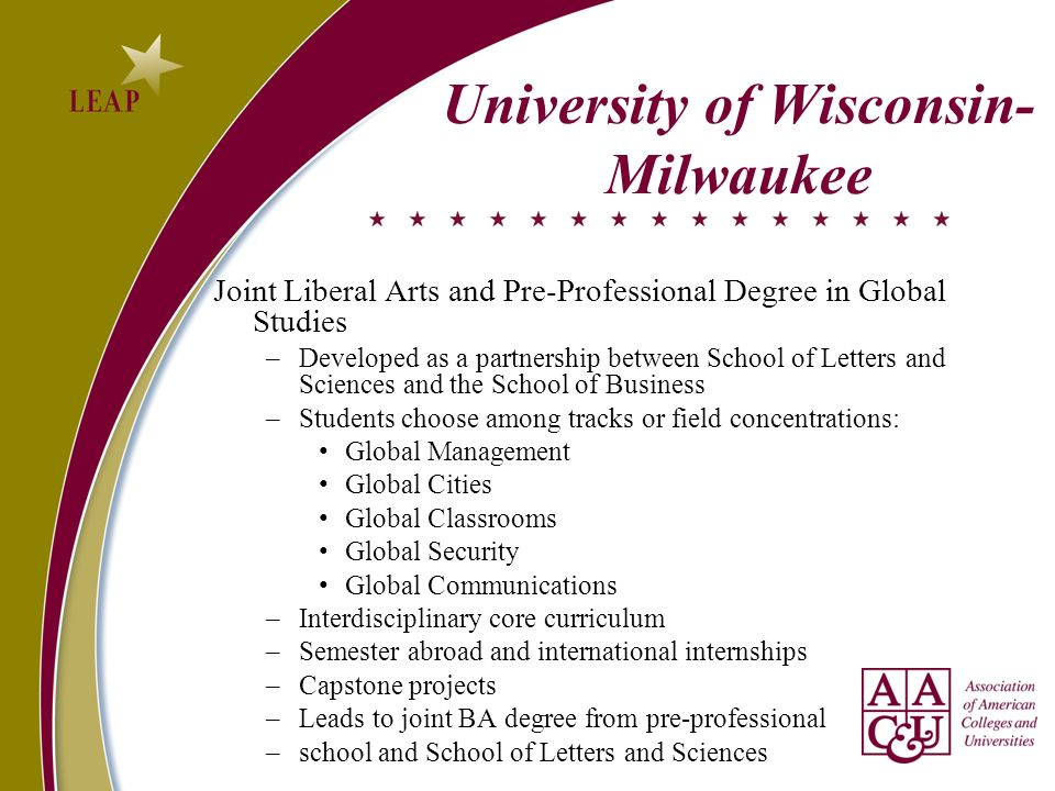 University of Wisconsin- Milwaukee Joint Liberal Arts and Pre-Professional Degree in Global Studies –Developed as a partnership between School of Letters and Sciences and the School of Business –Students choose among tracks or field concentrations: Global Management Global Cities Global Classrooms Global Security Global Communications –Interdisciplinary core curriculum –Semester abroad and international internships –Capstone projects –Leads to joint BA degree from pre-professional –school and School of Letters and Sciences